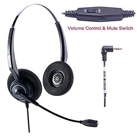 Arama Casque audio Binaural avec annulation de bruit Mic Volume Mut E pour Cisco Linksys SPA Polycom Panasonic Zultys Gigaset Grandstream Office IP et téléphones sans fil Dect avec prise de 2,5 mm (A200D-CP)
