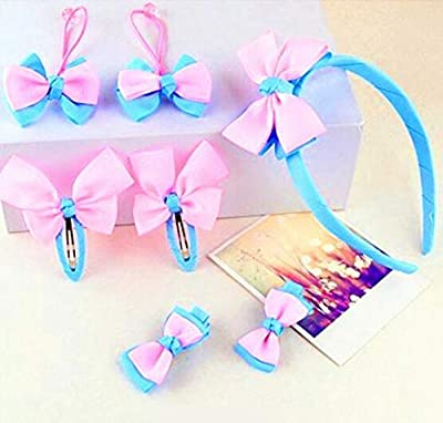 Whyyudan Beautiful Hair Decoration Gift Girl's Hair Clip Head Band Hair Rope Child Lovely Head Decorations Set (Pink+Pale Blue)