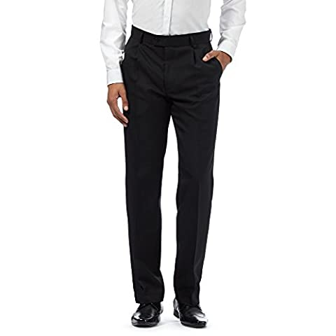 Big And Tall Black Herringbone Pleated Trousers With Active Waistband 42R