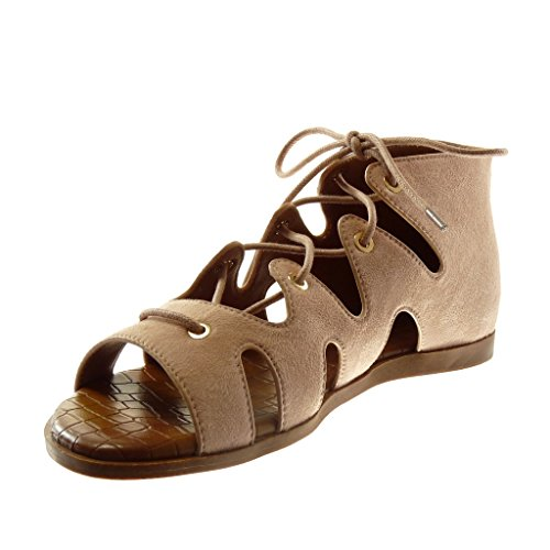 Angkorly Chaussure Mode Sandale Spartiates Montante Femme Lacets Croco Talon Plat 1 CM Rose clair