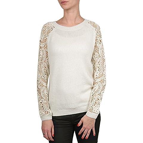 QED-Maglione da donna, a maniche lunghe, girocollo, all'uncinetto, con lana & cotone, Design elegante - Crema Girocollo