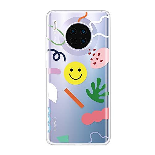 Miagon Klar Hülle für Huawei Mate 30,Kreativ Silikon Case Ultra Schlank Transparente Weich Handyhülle Anti-Kratzer Stoßfest Schutzhülle,Lächeln