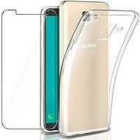 Leathlux Funda + Cristal para Galaxy J6 2018, Transparente TPU Silicona [Funda+Vidrio Templado] Protector de Pantalla 9H Dureza HD Flexible Case Cover para Samsung Galaxy J6 2018