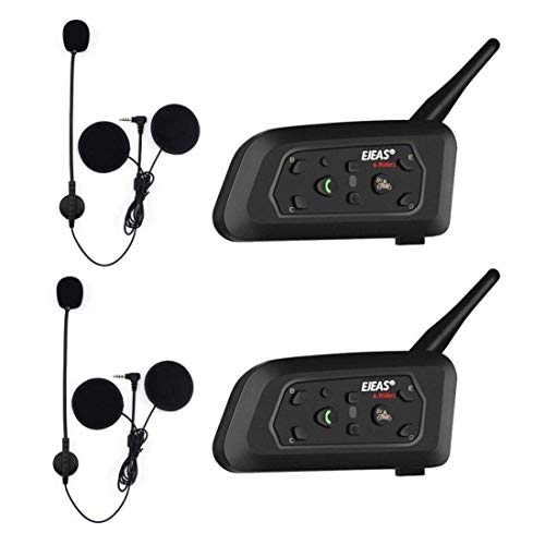 V6 Pro 2xAuriculares Intercomunicador Moto Bluetooth para Motocicletas,Gama Comunicación Intercom de 1200m,Intercomunicador Casco Moto,Impermeabilidad,Intercomunicacion Entre 6 Motociclistas