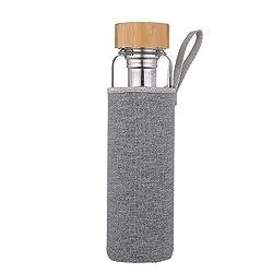 sunkey Trinkflasche Glas 1 Liter mit Sieb Früchtebehälter Bambusdeckel Neopren-Hülle Bpa Frei
