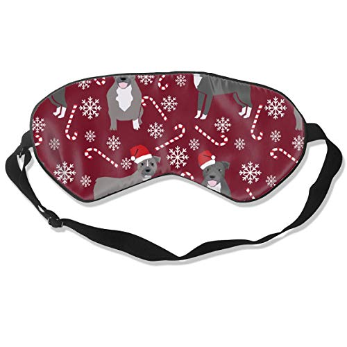 Pitbull Pepper Stick Winter Candy Cane Christmas M Breathable Pure Silk Sleep Eye Mask Best Sleeping Eye Cover for Travel, Nap, Blindfold with Adjustable Strap for Men, Women or Kids - Pure Care Cover Stick