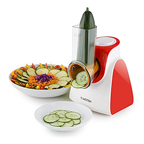 Klarstein Carrot & Rock Salad Cutter Slicer Grater • 150W • 5 Cutting Attachments • For Slicing Shredding and Grating • Easy Coupling for Quick Change of Attachments • Space-Saving Dimensions • Easy-Clean Plastic Housing • Red
