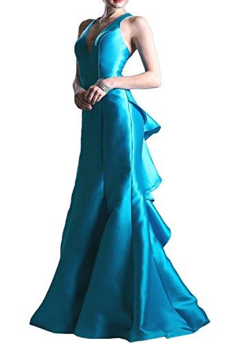 Gorgeous Bride Sexy V-Ausschnitte Meerjungfrau Rückenfrei Abendmode Satin Tüll 2017 Damen Partykleider Abendkleider Lang Cocktailkleider Ballkleider Blau
