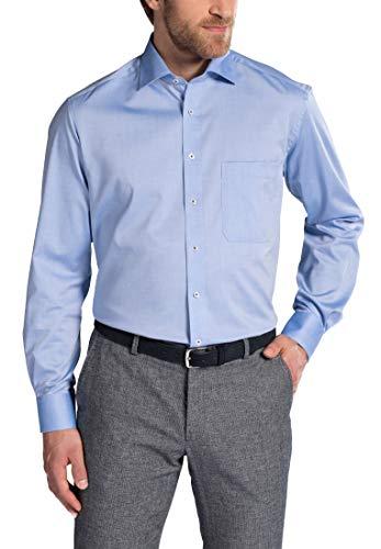 Herren Classic Langarm-oxford (ETERNA Langarm Hemd COMFORT FIT Pinpoint unifarben- Gr. 41 EU, Mittelblau)