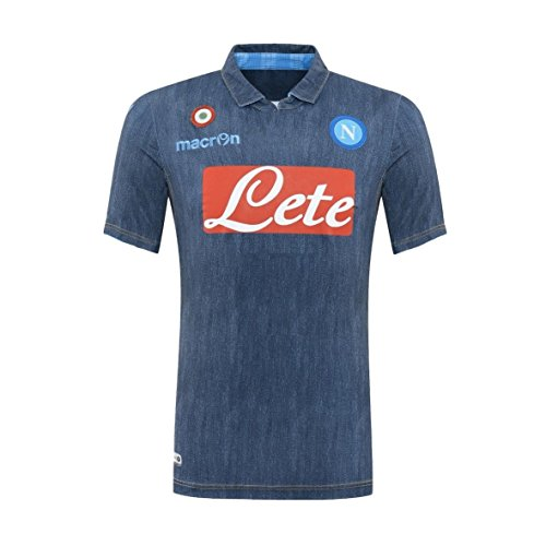 Macron Fußballtrikot Supporter away S.S. Fußball Napoli Perfect Denim Neapel 2014 2015 Artikel Offizielle Blau blue jeans (XL)