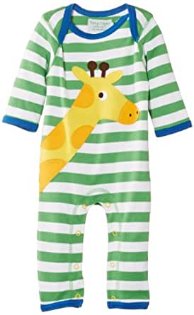 Toby Tiger Baby Boys Organic Giraffe Sleepsuit Striped Romper, Green, 0-3 Months