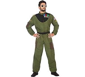 Atosa-50877 Disfraz hombre militar piloto, Color verde, XL (50877