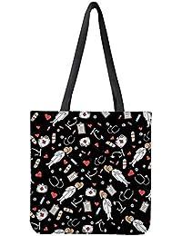 POLERO - Bolsa de la compra de lona de algodón, con estampado de dibujos animados de enfermeras, para niñas, mujeres, enfermeras, para el día a día, el trabajo (amarillo)