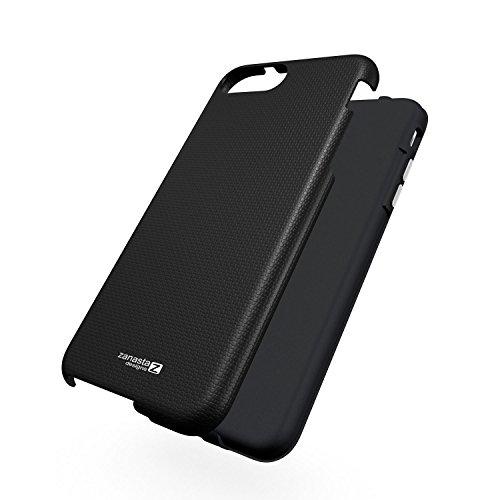 Coque Apple iPhone 7 Plus [Zanasta Designs] Case Hybrid Silicone Back Cover Premium TPU-Bumper Shockproof Noir Noir