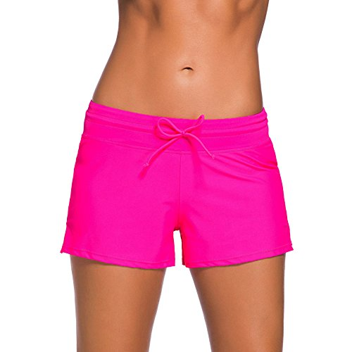 YIFEIKU Co.,Ltd. Swim Shorts Damen Sport Damen Tankini unten Shorts mit seitlichen Split Bund Sommer Strand Schwimmkleidung XL Rose (Shorts Frauen Xl Swim)