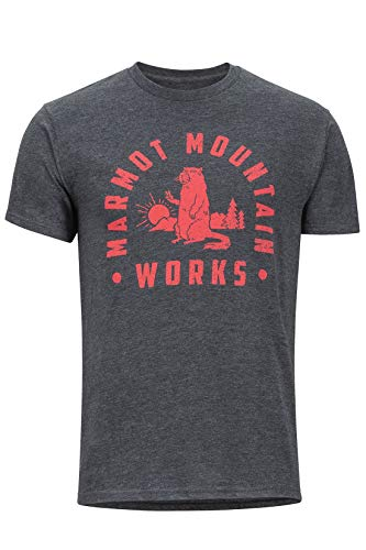 Marmot Herren Chordata Tee Short Sleeve T-Shirt Kurzarm, Funktionsshirt, Schnell Trocknend & Atmungsaktiv, Charcoal Heather, L