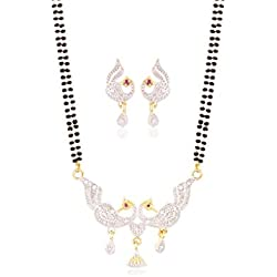 I Jewels Gold Plated Peacock shaped American Diamond Mangalsutra Pendant with Chain & Earrings for Women D044