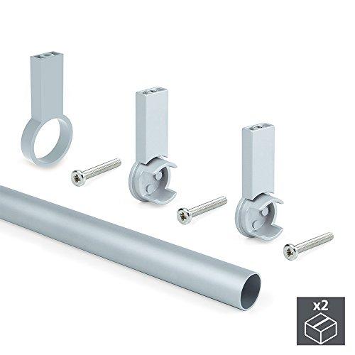 Emuca Kit 2 Aluminiumstangen Kleiderschrank D. 28 x 1400 mm und unterstützt Torwart Schrank für die Endbearbeitung grau