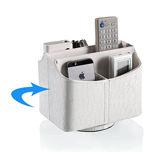 Cesta Unionbasic rotativa 360° de piel sintética en poliuretano, imitación piel de cocodrilo para guardar tus mandos a distancia, cartas, teleguías, organizador de escritorio