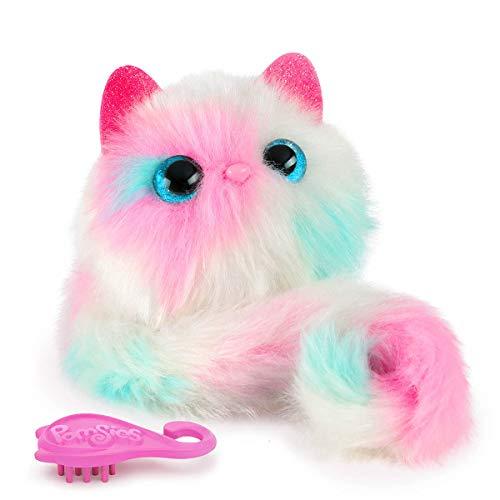 Bandai- Pomsies- Snowball- Kätzchen in den Farben rosa, weiß und blau- Interaktives Kuscheltier, das sich überall befestigen lässt- 80730 -