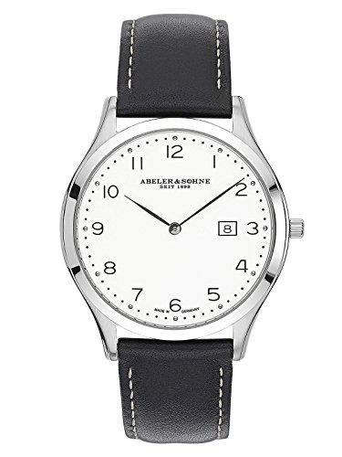 Abeler & Söhne Reloj de hombre fabricado en Alemania con cinta de piel, cristal de zafiro y fecha as3011