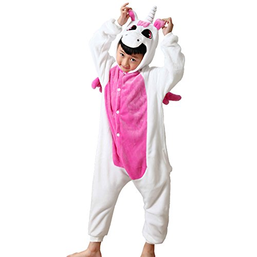 ELonglin Enfant Unisexe Pyjama Animal Onesie Cosplay Combinaison Pyjama Nuit Vêtement Fête Halloween Flannels Costume Soiree de Deguisements Licorne Rose Hauteur 121-130 CM