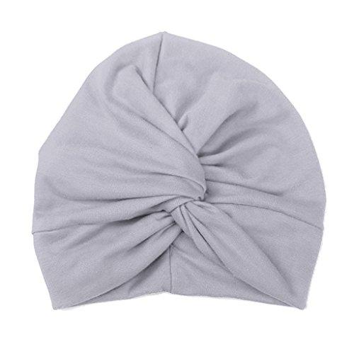 Haorw Baby Mütze Neugeborene Weich Baumwolle Turban Kleinkind Stirnbänder Baby Mädchen Stirnband (Grau)
