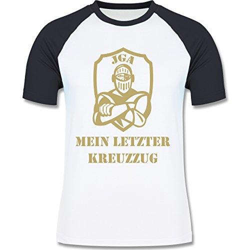 JGA Junggesellenabschied - Mein letzter Kreuzzug - zweifarbiges Baseballshirt für Männer Weiß/Navy Blau