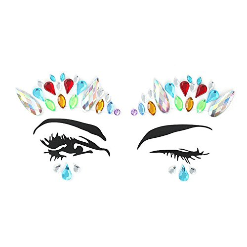 Foonee donne mermaid face stick di gioielli 3d con strass colorati sticker tattoo face festival rainbow tears adesivi color