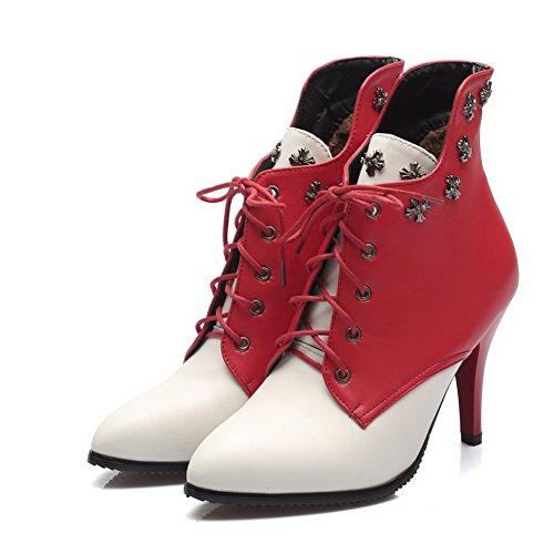VogueZone009 Donna Bassa Altezza Allacciare Scarpe A Punta Tacco Alto Stivali con Rivetto Rosso