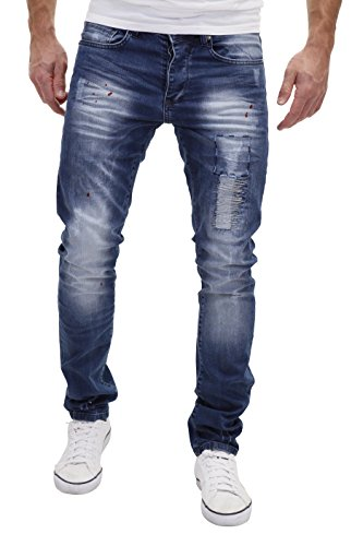 Merish Jeans Herren Stiched Paint Design Udes-Look Destroyed Modell J2076 Blau W32
