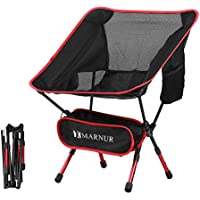 MARNUR Folding Camp Chair Portable Ultralight Camping Chairs Lightweight for Outdoor Fishing Hiking Beach Compact with Aluminum-Alloy Frame/Breathable Fabric/Side Pockets/Carry Bag/Adjustable Height