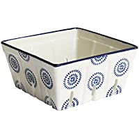 American Atelier 6469-BSKT5 - Cesta de cerámica cuadrada grande, color azul