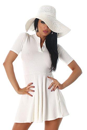 Voyelles Damen Sommer Kleid, ein kurzes Damen Feinripp Kleid mit V-Ausschnitt, figurbetonend in vielen Größen und Farben erhältlich (34 bis 40) Weiß