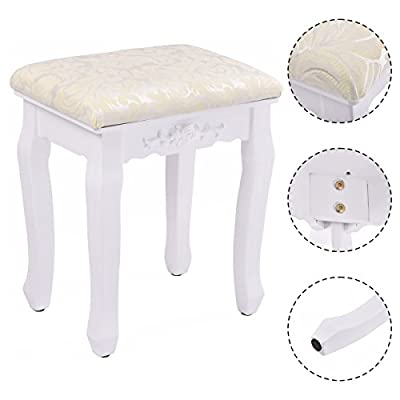 Costway White Retro Makeup Stool Baroque Design Pad Cushioned Vintage Dressing Chair Piano Seat - cheap UK light shop.
