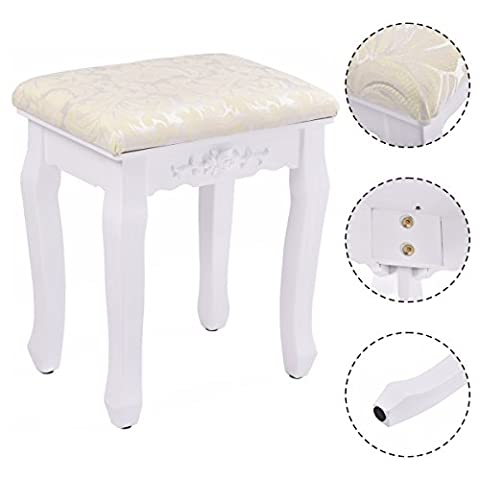 Costway White Retro Makeup Stool Baroque Design Pad Cushioned Vintage Dressing Chair Piano Seat