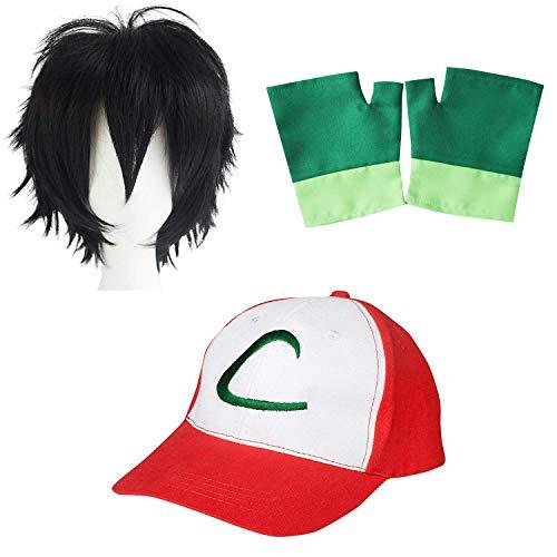 Ash Ketchum Kostüm - thematys Pokemon Trainer Ash Ketchum Cap + Handschuhe + Perücke - Kostüm-Set für Erwachsene & Kinder Fasching, Karneval & Cosplay - Damen Herren