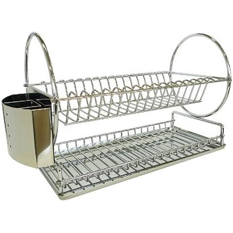 Zeller 27266 - Escurridor de platos (42.5 x 23 x 30 cm), en acero inoxidable