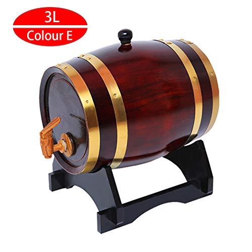 Weinfass - Siegel Eichenfass Firma Holzfass Liner Keine Leckage Weinbereitung Holzwaren Quality Unlackiertes Holzfass Zapfhahn Massives Schnapsfass,E,3L