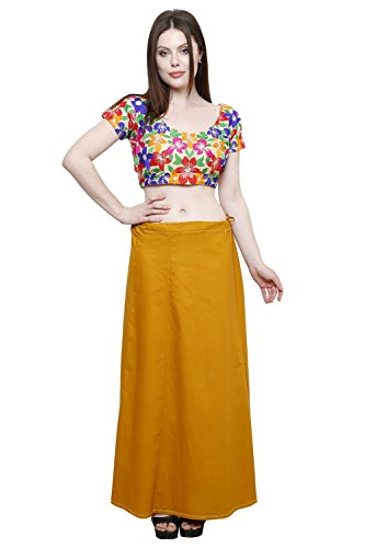 Pistaa Women's Cotton Mustered Colour Readymade Plain Inskirt Saree petticoats