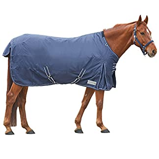 Amesbichler Horse Turnout Rug for horses and Breathable Winter Blanket with Fleece Inner Lining, Cross Surcingles & Leg Straps, 125 cm 410Wau 87rL