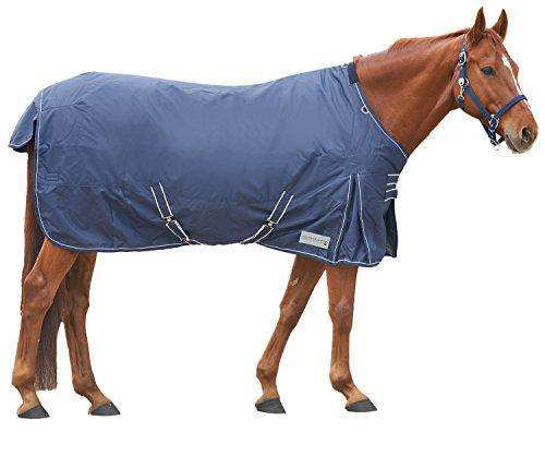 Amesbichler Pferde Outdoordecke Weidedecke Winterdecke mit Fleece-Innenfutter, und atmungsaktiv, Kreuzgurte und Beinschnüre, 145 cm