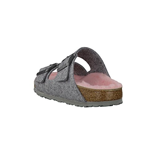 BIRKENSTOCK Arizona Damen Pantoletten Grey Happy Lamb Rose, EU 41