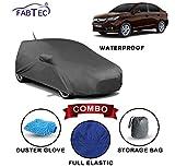 #7: Fabtec Waterproof Car Body Cover for Honda Amaze 2018 with Mirror Antenna Pocket Storage Bag & Microfiber Glove Combo