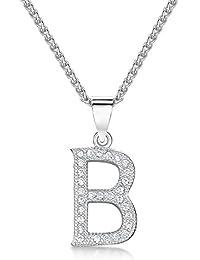 Sólo Jo inicial 'B' plata de ley y circonita cúbica Letra Colgante en 41 – 46 cm cadena de Spiga
