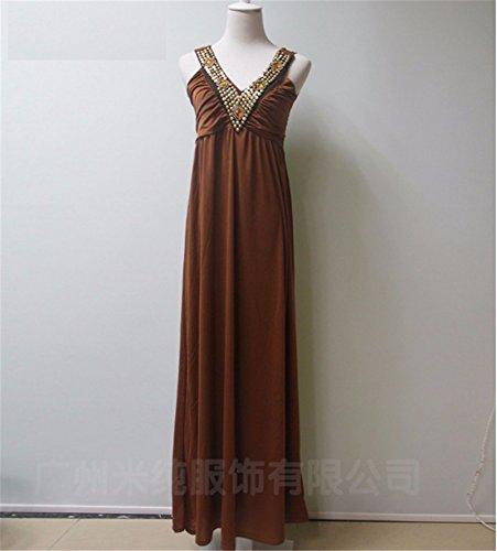 GS~LY Donna tute V collo abito con perline rivetto abiti da spiaggia lunghezza pianale gonna,marrone scuro,M - Nessun Perle Trapano