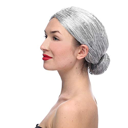 Perücke für alte Frau, Oma und Oma, Grau, Haar, Großmutter, Kostüm, hochwertig, hitzebeständig (Rockstar Kostüm Bilder)
