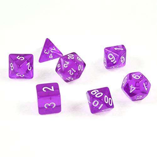 shibby 7 polyedrische Würfel für Rollen- und Tabletopspiele in transparent / lila mit Beutel