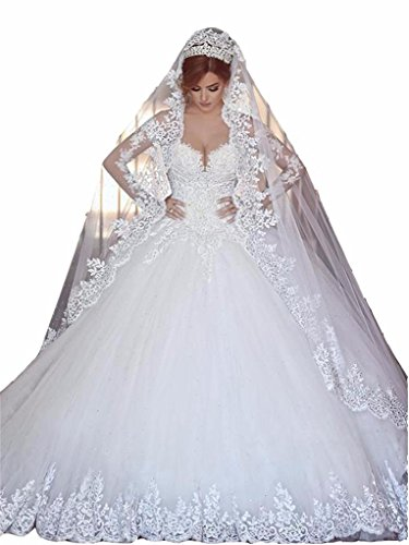 Changjie Damen SpitzeApplique Prinzessin Langarm Hochzeitskleid Brautkleid Gr??e 44 Elfenbein