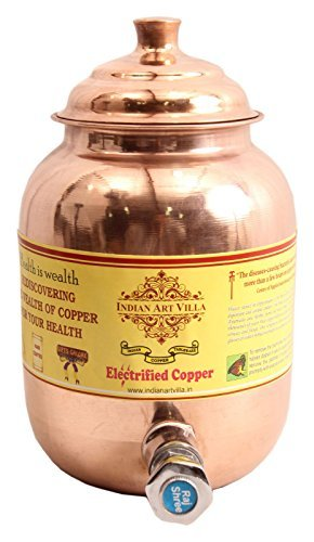 "Indian Art Villa IndianArtVilla 9.4"" X 4.0\"" Handmade 100% Pure Copper Volume 1.5 Liter Water Pot Storage Water Tank With Tap Kitchen Home Garden Good Health Benefits Yoga, Ayurveda"